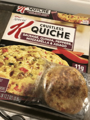 "Family, Frozen, and Meme: QUICHE  SAUSAGE,QUINOA, PEPPERS  MOZZARELLA&ASIAGO  FAMILY  REWARDS  Special  CRUSTLESS  QUICHE  SAUSAGE, QUINOA, PEPPERS  MOZZARELLA & ASIAGO  KEEP FROZEN  119  ICHES  B 122 02) (0.8kg) daily-meme:Expectations VS Reality - Not so ""Special"" K"
