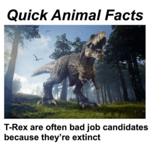 Bad, Facts, and Animal: Quick Animal Facts  T-Rex are often bad job candidates  because they're extinct Sad roar