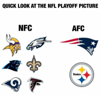 As predictable as the NBA Finals. https://t.co/zsPaHWuNz2: QUICK LOOK AT THE NFL PLAYOFF PICTURE  NFC  AFC  ONFEHateMemes  Steelers As predictable as the NBA Finals. https://t.co/zsPaHWuNz2