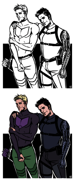 quicksillver: rise-up-ting-ting-like-glitter:  quicksillver: [ID two versions of the same inked drawing of the comic versions of Clint Barton and Bucky Barnes. One is colored, the other is black and white. Bucky has on a blue jacket and tac pants. He's also wearing a belt that's attached to a thigh holster and a shoulder holster. His right arm is draped around Clint's shoulders. His head is tilted and he has a small smirk on his face. Clint is dressed in a tight-fitting long sleeved purple shirt with his light purple chevron on his chest. He has olive green joggers on and a hip quiver. He's holding his right arm close to him and has a sort of shy or embarrassed look on his face. end ID] I thought Clint's chest chevron was a boob window in the uncoloured version XD  [ID same drawing as above except now Clint's chevron is a titty window, like it should be. end ID] : quicksillver: rise-up-ting-ting-like-glitter:  quicksillver: [ID two versions of the same inked drawing of the comic versions of Clint Barton and Bucky Barnes. One is colored, the other is black and white. Bucky has on a blue jacket and tac pants. He's also wearing a belt that's attached to a thigh holster and a shoulder holster. His right arm is draped around Clint's shoulders. His head is tilted and he has a small smirk on his face. Clint is dressed in a tight-fitting long sleeved purple shirt with his light purple chevron on his chest. He has olive green joggers on and a hip quiver. He's holding his right arm close to him and has a sort of shy or embarrassed look on his face. end ID] I thought Clint's chest chevron was a boob window in the uncoloured version XD  [ID same drawing as above except now Clint's chevron is a titty window, like it should be. end ID]