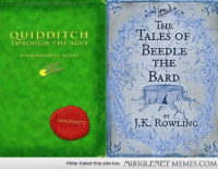 "Books, Memes, and Hitler: QUIDDITCH  THROUGH THE AGES  THE  TALES OF  KENNILWORTHY WHISP  THE  BARD  BY  HOGWARTS  OWLING  Hitler hated this site too  MUGGLENET MEMES.COM <p>Warner Brothers recently trademarked these two books, along with the names  <a href=""http://ift.tt/1xdbikT"">http://ift.tt/1xdbikT</a></p>"