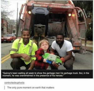 Memes, Tumblr, and Blog: Quincy's been waiting all week to show the garbage men his garbage truck. But, in the  moment, he was overwhelmed in the presence of his heroes.  controlledeuphoria  The only pure moment on earth that matters positive-memes:  That face!
