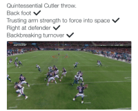 The anatomy of a Jay Cutler interception Credit: Will Brinson: Quintessential Cutler throw.  Back foot  Trusting arm strength to force into space V  Right at defender  V  Backbreaking turnover V  22 The anatomy of a Jay Cutler interception Credit: Will Brinson