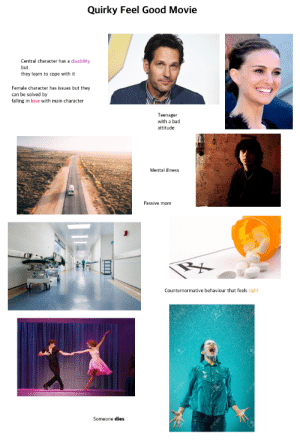 Quirky Feel Good Movie Starterpack: Quirky Feel Good Movie  Central character has a disability  but  they learn to cope with it  Female character has issues but they  can be solved by  falling  love with main character  Teenager  with a bad  attitude  Mental illness  Passive mom  Counternormative behaviour that feels right  Someone dies Quirky Feel Good Movie Starterpack