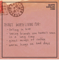 Bad, Friends, and Love: QUOTE  CATALOG  COM  THINGS WORTH LIVING FOR:  -falling in love  seeing friends you haven't seen  in a long time  giant mngs of coffee  warm hngs on bad days