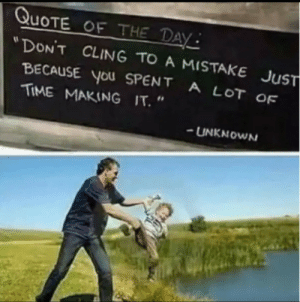 """Dank, Memes, and Target: QUOTE OF THE DAY  """"DON'T CLING TO A MISTAKE  JuST  BECAUSE You SPENT A LOT OF  TIME MAKING IT. """"  UNKNOWN meirl by Chommi MORE MEMES"""