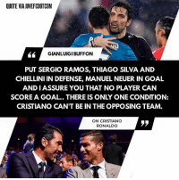 What do you think? ☺️: QUOTE VIA JUVEFCDOTCOM  GIANLUIGI BUFFON  PUT SERGIO RAMOS, THIAGO SILVA AND  CHIELLINI IN DEFENSE, MANUEL NEUER IN GOAL  AND IASSURE YOU THAT NO PLAYER CAN  SCORE A GOAL.. THERE IS ONLY ONE CONDITION:  CRISTIANO CAN'T BE IN THE OPPOSING TEAM.  ON CRISTIANO  RONALDO  ララ What do you think? ☺️