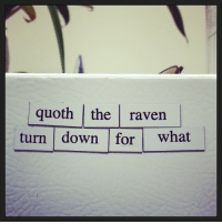 """Target, Tumblr, and Blog: quoth the raven  turn down for what mylordshesacactus: dukeofbookingham: If I ever don't reblog this I'm dead [id: white poetry magnets on a white fridge surface reading""""quoth the raven/turn down for what""""]"""