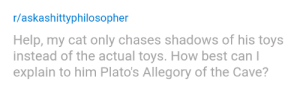 wutheringhags:KAJHLKJGHSkjhldjhlshagkhsgd: r/askashittyphilosopher  Help, my cat only chases shadows of his toys  instead of the actual toys. How best can l  explain to him Plato's Allegory of the Cave? wutheringhags:KAJHLKJGHSkjhldjhlshagkhsgd