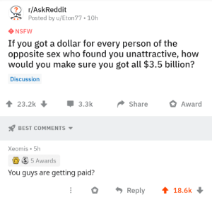 Nsfw, Sex, and Best: ?  r/AskReddit  Posted by u/Eton77 10h  NSFW  If you got a dollar for every person of the  opposite sex who found you unattractive, how  would you make sure you got all $3.5 billion?  Discussion  3.3k  23.2k  Share  Award  BEST COMMENTS  Xeomis 5h  S 5 Awards  You guys are getting paid?  Reply  18.6k Me😢irl