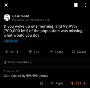 Best, Askreddit, and Best Comments: r/AskReddit  Posted by u/MrBr1an1204 9h  If you woke up one morning, and 99.99%  (700,000 left) of the population was missing,  what would you do?  Discussion  122  Share Award  BEST COMMENTS ▼  P1stacio . 9h  Get rejected by 699,999 people  Reply 112