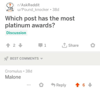 Askreddit: r/AskReddit  Pound_knocker 38d  Which post has the most  platinum awards?  Discussion  2  Share  BEST COMMENTS  Cromulus 38d  Malone