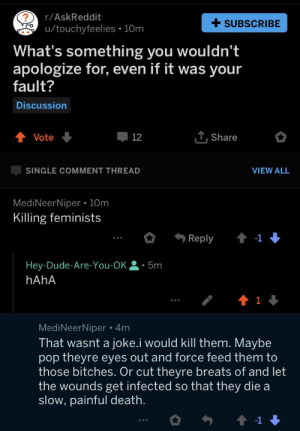 Crazy, Dude, and Pop: r/AskReddit  SUBSCRIBE  u/touchyfeelies 10m  .  What's something you wouldn't  apologize for, even if it was your  fault?  Discussion  Share  Vote  12  SINGLE COMMENT THREAD  VIEW ALL  MediNeerNiper 10m  Killing feminists  Reply  t1  Hey-Dude-Are-You-OK  5m  HAHA  1  MediNeerNiper 4m  That wasnt a joke.i would kill them. Maybe  pop theyre eyes out and force feed them to  those bitches. Or cut theyre breats of and let  the wounds get infected so that they die a  slow, painful death.  -1 Crazy guy on r/askreddit