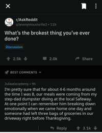 awesomacious:  To the man who delivered :): r/AskReddit  u/anonymousturtle2 11h  What's the brokest thing you've ever  done?  Discussion  2.0k  Share  BEST COMMENTS  Julieatacademy -9h  I'm pretty sure that for about 4-6 months around  the time I was 8, our meals were coming from my  step-dad dumpster diving at the local Safeway  At one point I can remember him breaking down  emotionally when we came home one day and  someone had left three bags of groceries in our  driveway right before Thanksgiving  Reply3.1k awesomacious:  To the man who delivered :)