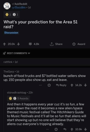 Fingers crossed (and alien appendages crossed): r/AskReddit  u/DuccBro 1d  1 S1  What's your prediction for the Area 51  raid?  Discussion  20.0k  4.8k  Share  Award  BEST COMMENTS  rattfink 1d  TheGarp d  bunch of food trucks and $7 bottled water sellers show  up. 150 people also show up, eat and leave.  14.2k  Reply  stonedtrashbag 21h  S5Awards  And then it happens every year cuz it's so fun, a few  years down the road it becomes a new alien/space  themed music festival called The Hitchhikers Guide  to Music Festivals and it'll all be so fun that aliens will  start showing up but no one will believe that they're  aliens cuz everyone's tripping already  10.9k Fingers crossed (and alien appendages crossed)