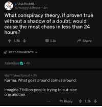 True, Best, and Karma: r/AskReddit  u/happytailbone 4h  What conspiracy theory, if proven true  without a shadow of a doubt, would  cause the most chaos in less than 24  hours?  1.1k  Share  BEST COMMENTS  XalenGuo 4h  slightlynocturnal 3h  Karma. What goes around comes around.  Imagine 7 billion people trying to out-nice  one another.  Reply1.3k <p>Wholesome r/AskReddit</p>