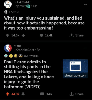 Finals, Los Angeles Lakers, and Nba: r/AskReddit  ?  u/jcrewz 13h  S 1Award  What's an injury you sustained, and lied  about how it actually happened, because  it was too embarrassing?  1,Share  34.5k  12.4k  r/nba  u/24KobeGoat 3h  OC 112 Awards  Paul Pierce admits to  shitting his pants in the  NBA finals against the  Lakers, and faking a knee  injury to go to the  bathroom [VIDEO]  streamable.com  1Share  44.1k  3.4k Title