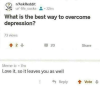 Life, Love, and Meme: r/AskReddit  u/-life sucks 32m  What is the best way to overcome  depression?  73 views  20  Share  Meme-ic 7m  Love it, so it leaves you as well  Reply Vote