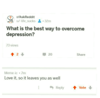 meirl: r/AskReddit  u/-lifesucks-  . 32m  -  What is the best way to overcome  depression?  73 views  會2↓  20  Share  Meme-ic 7m  Love it, so it leaves you as well  Reply ↑ Vote meirl