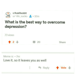 Dank, Life, and Love: r/AskReddit  u/-lifesucks-  . 32m  -  What is the best way to overcome  depression?  73 views  會2↓  20  Share  Meme-ic 7m  Love it, so it leaves you as well  Reply ↑ Vote meirl by -life_sucks- MORE MEMES