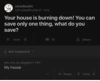 House Is Burning: r/AskReddit  u/PickledMustard 12m  Your house is burning down! You carn  save only one thing, what do you  save?  1 Vote  10  i Share  BEST COMMENTS  pm_me_yo_doggos 11m  My house  Reply  Vote