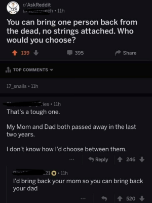 Dad, Tough, and Mom: r/AskReddit  You can bring one person back from  the dead, no strings attached. Who  would you choose?  T 139  395  Share  .tį TOP COMMENTS ▼  17_snails 11h  ies 1lh  That's a tough one.  My Mom and Dad both passed away in the last  two years.  I don't know how I'd choose between them.  Reply 246  21 11h  I'd bring back your mom so you can bring back  your dad  520 You can bring one person back from the dead