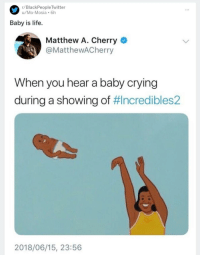 "Crying, Dank, and Life: r/BlackPeople Twitter  u/Mo-Mosia 6h  Baby is life.  Matthew A. Cherry  @MatthewACherry  When you hear a baby crying  during a showing of #Incredibles2  2018/06/15, 23:56 <p>Separating babies from parents….works for me via /r/dank_meme <a href=""https://ift.tt/2trrinG"">https://ift.tt/2trrinG</a></p>"