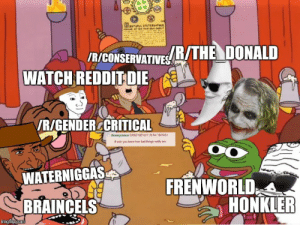 Bad, Dank, and Memes: /R/CONSERVATIVE/THE DONALD  WATCH REDDIT DIE  VR/GENDERCCRITICAL  Ananymous 03/02/12F17 39 No 1521453  f only you lnew how bad things resly are  WATERNIGGAS  FRENWORLD  HONKLER  BRAINCELS  imgflip.com This is what dank memes actually believes