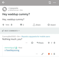 Best Copypasta: r/copypasta  u/bhertzman 8m  Hey waddup cummy?  Hey, waddup cummy?  Vote  Share  Award  2  BEST COMMENTS  CummyBot2000 8m . Reposts copypasta for mobile users  Nothing much, you?  Reply2  elementguy5. Now  r/beetlejuicing  41