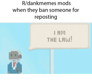 Meme, Dank Memes, and Law: R/dankmemes mods  when they ban someone for  reposting  I AM  THE LAW Virtual beggar meme