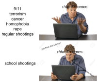 "Dank, Funny, and Meme: r/dankmemes  terrorism  cancer  homophobia  rape  regular shootings  you think that's funny'?  r/dankmemes  school shootings <p>r/dankmemes mods suck admin cock via /r/dank_meme <a href=""http://ift.tt/2BDRjpK"">http://ift.tt/2BDRjpK</a></p>"