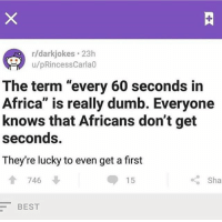 """It warms my fucking soul that people actually read and enjoy what I write frfr: r/darkjokes 23h  u/pRincessCarla0  The term """"every 60 seconds in  Africa"""" is really dumb. Everyone  knows that Africans don't get  seconds  They're lucky to even get a first  合 746  15  くSha  BEST It warms my fucking soul that people actually read and enjoy what I write frfr"""