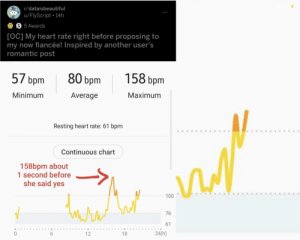Congrats!: r/dataisbeautiful  u/FlyScript • 14h  A S 5 Awards  [OC] My heart rate right before proposing to  my now fiancée! Inspired by another user's  romantic post  57 bpm  158 bpm  80 bpm  Minimum  Average  Maximum  Resting heart rate: 61 bpm  Continuous chart  158bpm about  1 second before  she said yes  100  76  61  24(h)  18  12 Congrats!