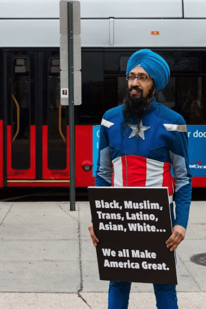 awesomacious:  Wholesome Captain America: r do  talOne s  Black, Muslim,  Trans, Latino,  Asian, White...  We all Make  America Great. awesomacious:  Wholesome Captain America