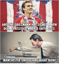 Memes, Sorry, and Troll: R E A L  T Troll Foottiali  ANTOINE GRIEZMANN HAS SIGNED A NEW  DEALATATLETICO MADRID UNTIL 022.  If TrollFootball  #IBRAHIM  MANCHESTER UNITED FANS RIGHT NOW! Sorry for United fans!