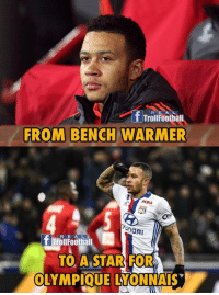 Memes, Games, and Goal: R E  T Trollfootball  FROM BENCH WARMER  MDA  ODA  R E A L  T TrollFootball  TO A STAR FOR  0  OLYMPIQUE LYONNAIS Memphis Depay's last 4 home games:  ⚽️ Goal  🎯 Assist  ⚽️ Goal  ⚽️ Goal  🎯 Assist  🎯 Assist  ⚽️ Goal ⚽️ Goal