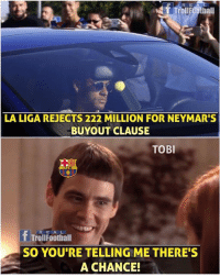 Another Twist 😉..Hope alive for Barça fans 👍  Like Troll Football for more: R E  T TrollFOothall  LA LIGA REJECTS 222 MILLION FOR NEYMAR'S  BUYOUT CLAUSE  TOBI  fTrouFootiall  SO YOU'RE TELLING ME THERE'S  A CHANCE! Another Twist 😉..Hope alive for Barça fans 👍  Like Troll Football for more