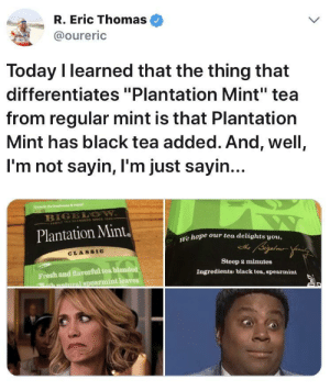 "Well, EnslaveMint was too on the nose by OMS2EMwannabe MORE MEMES: R. Eric Thomas  @oureric  Today I learned that the thing that  differentiates ""Plantation Mint"" tea  from regular mint is that Plantation  Mint has black tea added. And, well,  I'm not sayin, I'm just sayin  B1  Plantation Mint  e hope our tea delights vou,  CLASSIC  Fresh and flavorful tea blended  armint leaves  Steep 2 minutes  Ingredients: black tea, spearmint  hnatmral spe Well, EnslaveMint was too on the nose by OMS2EMwannabe MORE MEMES"