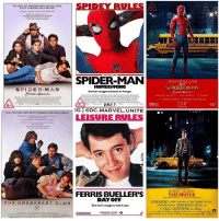 THIS IS GREAT ! 🤣 3 New Exclusive SpiderManHomeComing Posters from @Nerdist have been Released which resemble some classic films which inspired the director @jnwtts in the making of the SpiderMan Film ! There's one for TheBreakfastClub, FerrisBuellersDayOff and TaxiDriver ! 😍👏🏽 Spidey in the 80's MarvelCinematicUniverse 💥 MCU HYPE ( Tag TomHolland…@tomholland2013 ) 🕷: r erP  SPIDEY RULESA  SPIDER-MAN  TOM HOLLAND  SPIDER-MAN  MICHAEL KEATON JONFWREAU ZENDAYA  SPIDER-MAN  HOMECOMING  One kis struggie to becone an Avenger.  JULY 7  THEY ONEY MET ONCL BUTITI OHANGED THERLVES OREVER  IG DC.MARVEL.UNITE  THEY ONLY MET ONCEL, BUTIT CHANGED THER UMES FOREVER  叭r:  LEISURE RULES  ROBERT DENIRO  FERRIS BUELLER'S  TAXI DRIVER  OCE FOSTER ALRERT BROOKS o HARVEY KEITEL  CYBILL SHEPHERD as Betsy  DAYOFF  One man's strutrte to take it easy  THE BREAKFAST CLUB THIS IS GREAT ! 🤣 3 New Exclusive SpiderManHomeComing Posters from @Nerdist have been Released which resemble some classic films which inspired the director @jnwtts in the making of the SpiderMan Film ! There's one for TheBreakfastClub, FerrisBuellersDayOff and TaxiDriver ! 😍👏🏽 Spidey in the 80's MarvelCinematicUniverse 💥 MCU HYPE ( Tag TomHolland…@tomholland2013 ) 🕷