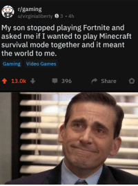Minecraft, Video Games, and Games: r/gaming  u/virginialiberty 8 3 4h  My son stopped playing Fortnite and  asked me if I wanted to play Minecraft  survival mode together and it meant  the world to me.  Gaming Video Games  13.0k  396  Share Good parenting via /r/wholesomememes http://bit.ly/2RC1sfH