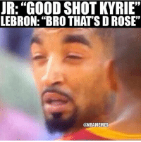 "Memes, Good, and Lebron: R: ""GOOD SHOT KVRIE""  LEBRON: ""BRO THAT'S D ROSE""  @NBAMEMES Lmaoo😂"
