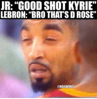 "Cavs, Memes, and Sports: R:""GOOD SHOT KYRIE""  LEBRON: ""BRO THAT'S D ROSE""  95  @NBAMEMES When J.R. Smith realizes Kyrie is gone next season. Cavs Nation Credit: _sports.today_"