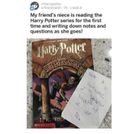 Friends, Harry Potter, and Memes: r/harrypotter  u/fraintraino 7h i.redd.it  1  My friend's niece is reading the  Harry Potter series for the first  time and writing down notes and  questions as she goes!  atly Potiet  SON  ND THE  Stu Pe  MSCHOLASTIC tis iz amaazing https://t.co/bdqXSeLot8