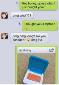 Omg Omg Omg: R Hey honey, guess what  i  just bought you?  omg what???  I bought you a laptop!!  omg omg! omg!! are you  serious??  omg :'D  Gallery