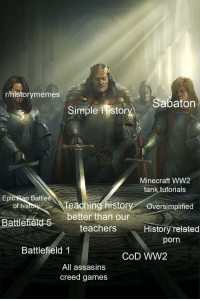 ww2: r/historymemes  Sabaton  Simple stor  Minecraft WW2  tank tutorials  Epic Rap  Battles  of histoyT  eaching historyOversimplified  better than our  Battlefietd  teachers  History related  porn  Battlefield 1  CoD WW2  All assasins  creed games