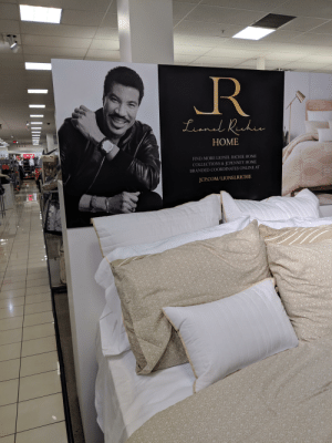 Funny, Hello, and Home: .R  HOME  FIND MORE LIONEL RICHIE HOME  COLLECTIONS & JCPENNEY HOME  BRANDED COORDINATES ONLINE AT  JCP.COM/LIONELRICHIE Hello, is it sheets you're looking for?