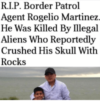 "Memes, Aliens, and Skull: R.I.P. Border Patrol  Agent Rogelio Martinez  He Was Killed By Ilegal  Aliens Who Reportedly  Crushed His Skull With  Rocks And people say illegal immigrants are ""harmless."" 🤔 R.I.P.!"