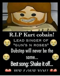 "rip 🕵: R.I.P Kurt cobain!  LEAD SINGER OF  GUN'S N ROSES""  Dubstep will never be the  same...  Best song: Shake it off. rip 🕵"