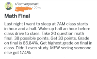 iamverysmart: r/iamverysmart  22m  Math Final  Last night I went to sleep at 7AM class starts  in hour and a half. Wake up half an hour before  class drive to class. Take 20 question math  final. 38 possible points. Get 33 points. Grade  on final is 86.84%. Get highest grade on final in  class. Didn't even study. MFW seeing someone  else got 174%