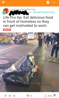 Food, Homeless, and Life: r/ImGaingToHellFor This  ld. Donald Trump's First...  Life Pro-tip: Eat delicious food  in front of homeless so they  can get motivated to work.  NSFW